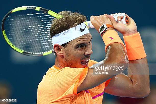Rafael Nadal of Spain plays a backhand in his match against Alexandr Dolgopolov of Ukraine on day three of the 2017 Brisbane International at Pat...