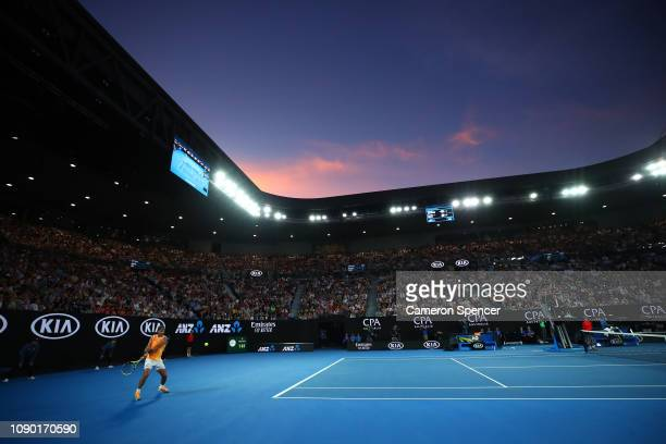 Rafael Nadal of Spain plays a backhand in his Men's Singles Final match against Novak Djokovic of Serbia during day 14 of the 2019 Australian Open at...