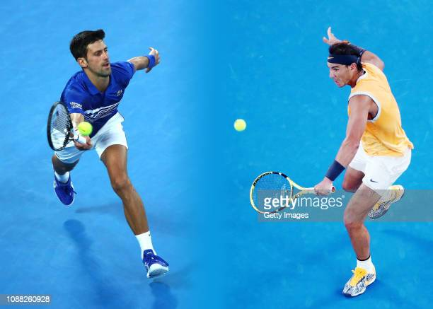 COMPOSITE OF IMAGES Image numbers 1088212694 1087871870 GRADIENT ADDED In this composite image a comparison has been made between Novak Djokovic of...