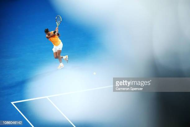 Rafael Nadal of Spain plays a backhand in his quarter final match against Frances Tiafoe of the United States during day nine of the 2019 Australian...