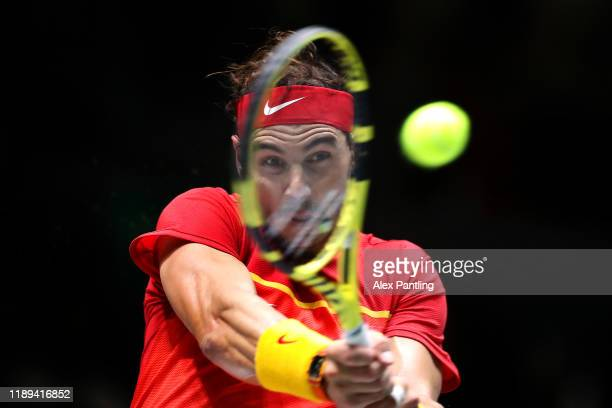 Rafael Nadal of Spain plays a backhand in his quarter-final match against Diego Schwartzman of Argentina during Day five of the 2019 Davis Cup at La...