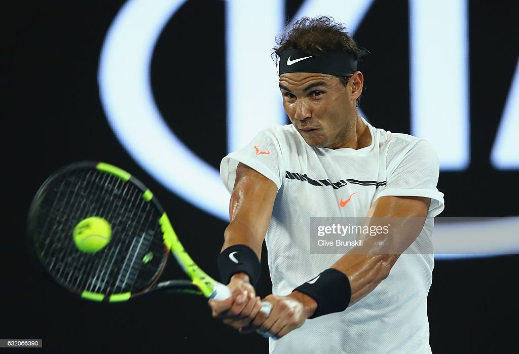 Rafael Nadal of Spain plays a backhand in his second round match against Marcos Baghdatis of Cyprus on day four of the 2017 Australian Open at Melbourne Park on January 19, 2017 in Melbourne, Australia.