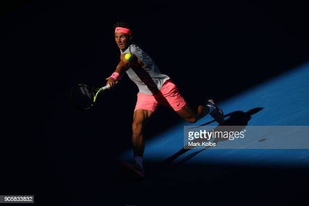 Rafael Nadal of Spain plays a backhand in his second round match against Leonardo Mayer of Argentina on day three of the 2018 Australian Open at...