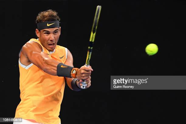 Rafael Nadal of Spain plays a backhand in his third round match against Alex De Minaur of Australia during day five of the 2019 Australian Open at...