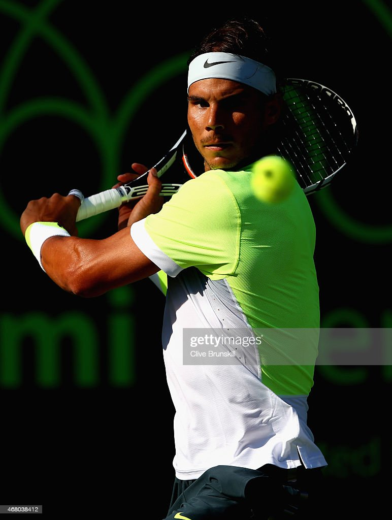 Rafael Nadal of Spain plays a backhand to Fernando Verdasco of Spain in their third round match during the Miami Open Presented by Itau at Crandon Park Tennis Center on March 29, 2015 in Key Biscayne, Florida.