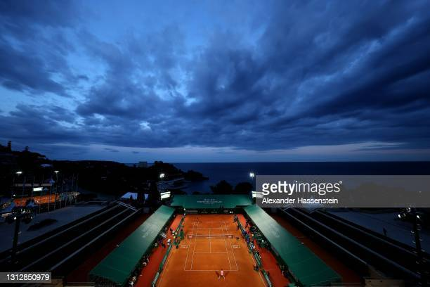 Rafael Nadal of Spain plays a fore hand during his match against Andrey Rublev of Russia during day six of the Rolex Monte-Carlo Masters at...