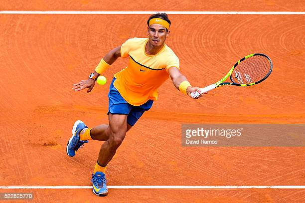 Rafael Nadal of Spain plays a forehand against Albert Montanez during day four of the Barcelona Open Banc Sabadell at the Real Club de Tenis...
