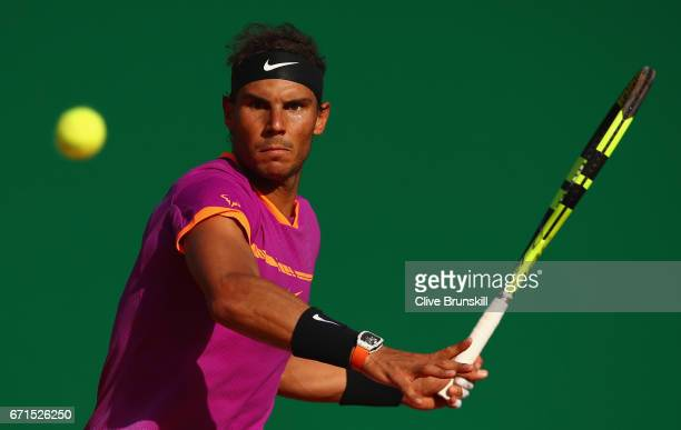 Rafael Nadal of Spain plays a forehand against David Goffin of Belgium in their semi final round match on day seven of the Monte Carlo Rolex Masters...