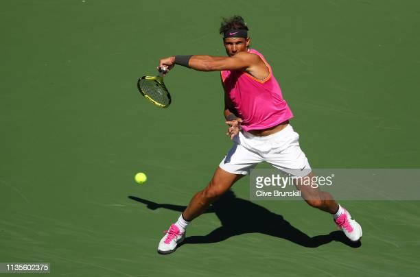 Rafael Nadal of Spain plays a forehand against Filip Krajinovic of Serbia during their men's singles fourth round match on day ten of the BNP Paribas...