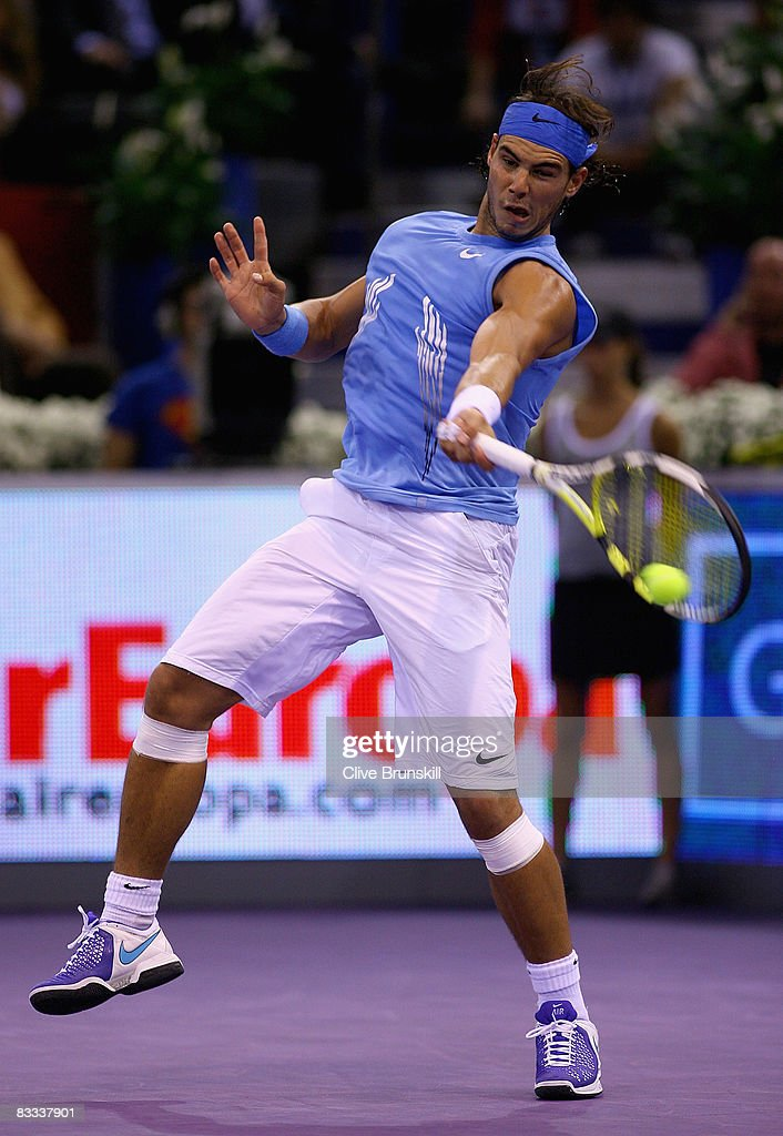 Rafael Nadal of Spain plays a forehand against Gilles Simon of France during their semi final match at the Madrid Masters tennis tournament at the Madrid Arena on October 18, 2008 in Madrid, Spain.