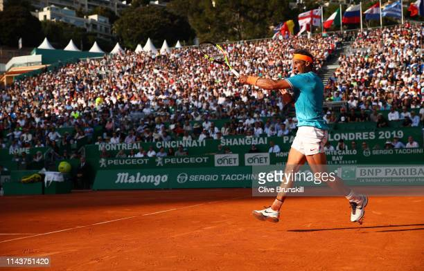 Rafael Nadal of Spain plays a forehand against Guido Pella of Argentina in their quarter final match during day six of the Rolex Monte-Carlo Masters...