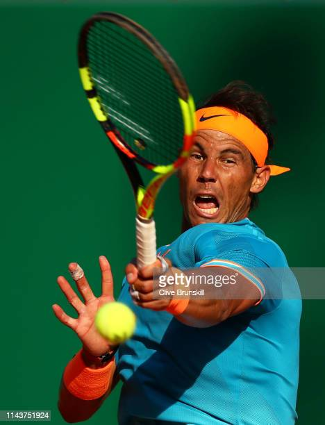 Rafael Nadal of Spain plays a forehand against Guido Pella of Argentina in their quarter final match during day six of the Rolex MonteCarlo Masters...