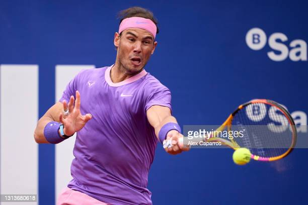 Rafael Nadal of Spain plays a forehand against Ilya Ivashka of Belarus in their second round match during day three of the Barcelona Open Banc...