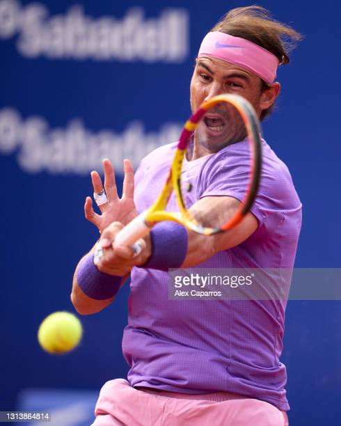 Rafael Nadal of Spain plays a forehand against Kei Nishikori of Japan in their third round match during day four of the Barcelona Open Banc Sabadell...