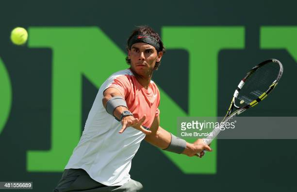 Rafael Nadal of Spain plays a forehand against Novak Djokovic of Serbia during their final match during the final of the Sony Open at Crandon Park...