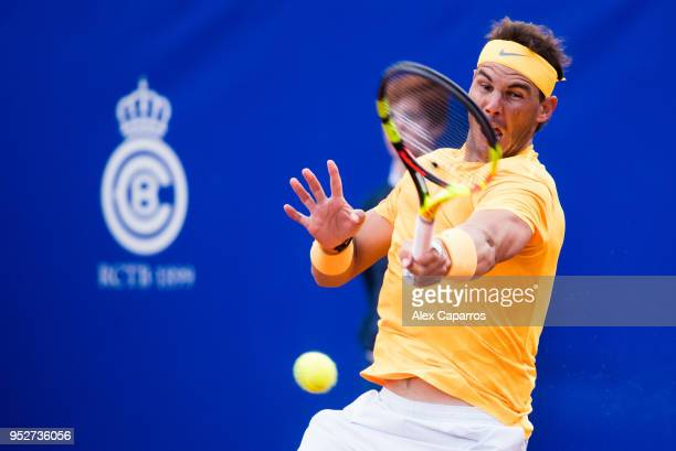 Rafael Nadal of Spain plays a forehand against Stefanos Tsitsipas of Greece in their final match during day seven of the Barcelona Open Banc Sabadell...
