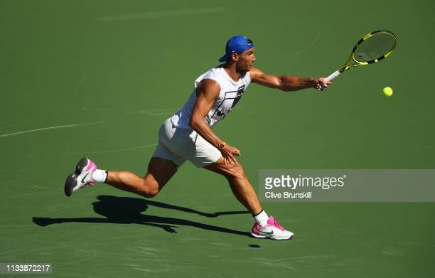 Rafael Nadal of Spain plays a forehand during a practice session on Day 2 of the BNP Paribas Open at the Indian Wells Tennis Garden on March 04, 2019...