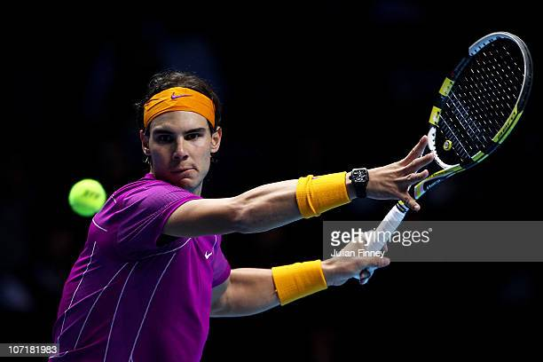 Rafael Nadal of Spain plays a forehand during his men's final match against Roger Federer of Switzerland during the ATP World Tour Finals at O2 Arena...