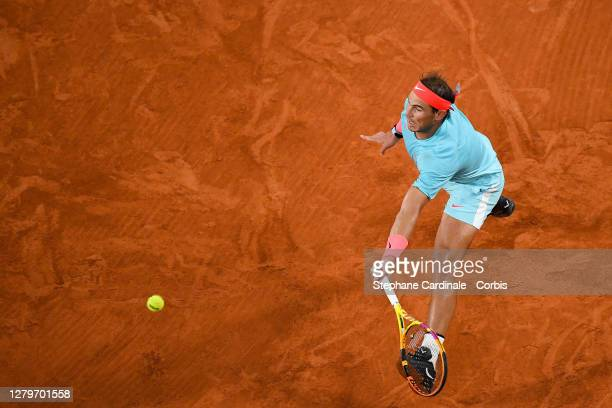 Rafael Nadal of Spain plays a forehand during his Men's Singles Final against Novak Djokovic of Serbia on day fifteen of the 2020 French Open at...