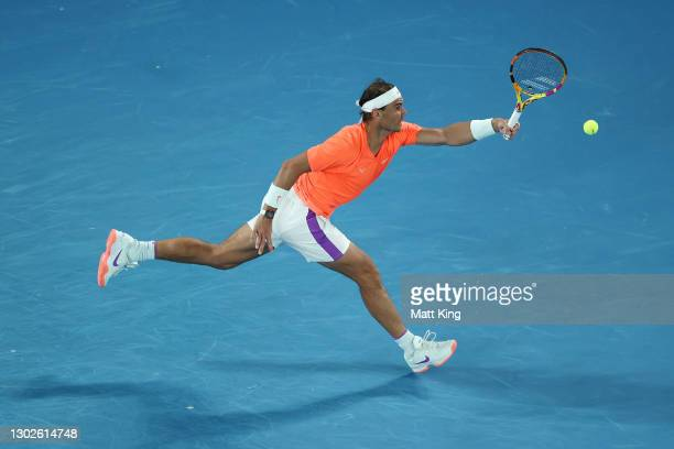 Rafael Nadal of Spain plays a forehand during his Men's Singles Quarterfinals match against Stefanos Tsitsipas of Greece during day 10 of the 2021...