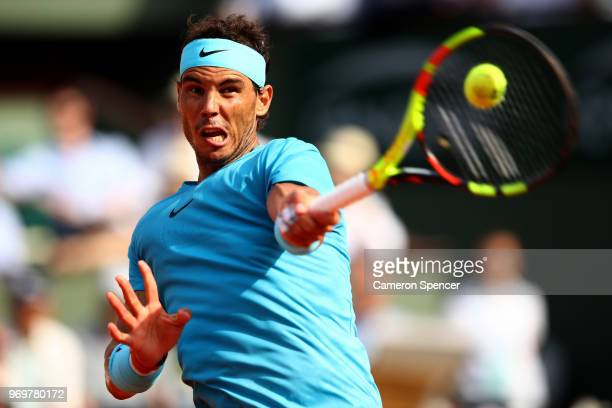 Rafael Nadal of Spain plays a forehand during his mens singles semifinal match against Juan Martin Del Potro of Argentina during day thirteen of the...
