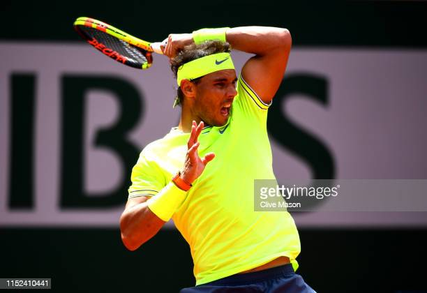 Rafael Nadal of Spain plays a forehand during his mens singles second round match against Yannick Maden of Germany during Day four of the 2019 French...