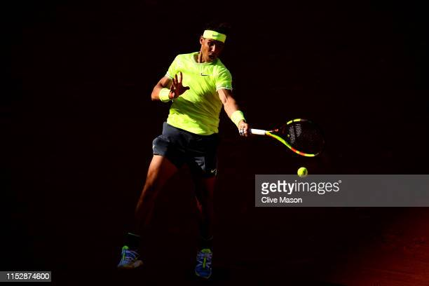 Rafael Nadal of Spain plays a forehand during his mens singles third round match against David Goffin of Belgium during Day six of the 2019 French...