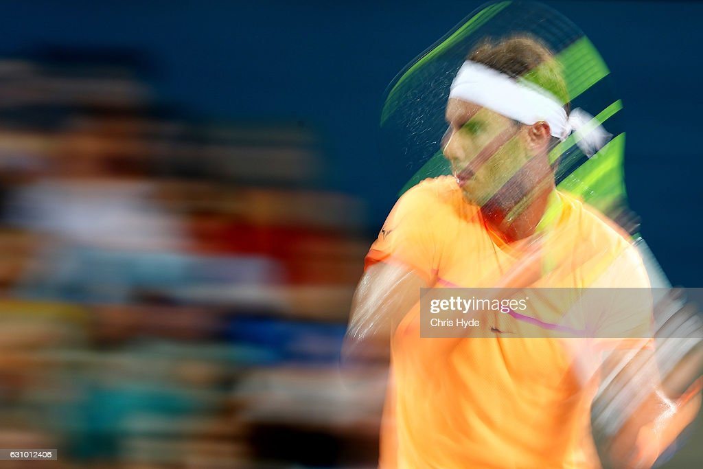 Rafael Nadal of Spain plays a forehand during his quarter final match against Mischa Zverev of Germany during day five of the 2017 Brisbane International at Pat Rafter Arena on January 5, 2017 in Brisbane, Australia.