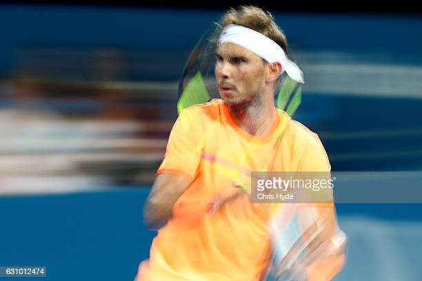 Rafael Nadal of Spain plays a forehand during his quarter final match against Mischa Zverev of Germany during day five of the 2017 Brisbane...