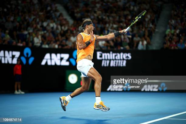Rafael Nadal of Spain plays a forehand during his second round match against Matthew Ebden of Australia during day three of the 2019 Australian Open...