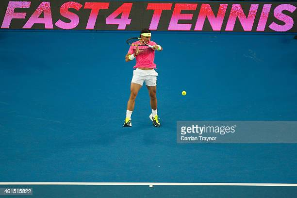 Rafael Nadal of Spain plays a forehand during Rafa's Summer Set at Melbourne Park on January 14 2015 in Melbourne Australia