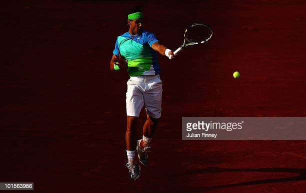 Rafael Nadal of Spain plays a forehand during the men's singles quarter final match between Rafael Nadal of Spain and Nicolas Almagro of Spain at the...