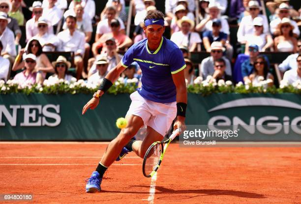 Rafael Nadal of Spain plays a forehand during the mens singles final match against Stan Wawrinka of Switzerland on day fifteen of the 2017 French...