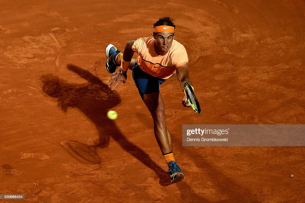 Rafael Nadal of Spain plays a forehand his match against Philipp Kohlschreiber of Germany on Day Four of The Internazionali BNL d'Italia on May 11, 2016 in Rome, Italy.