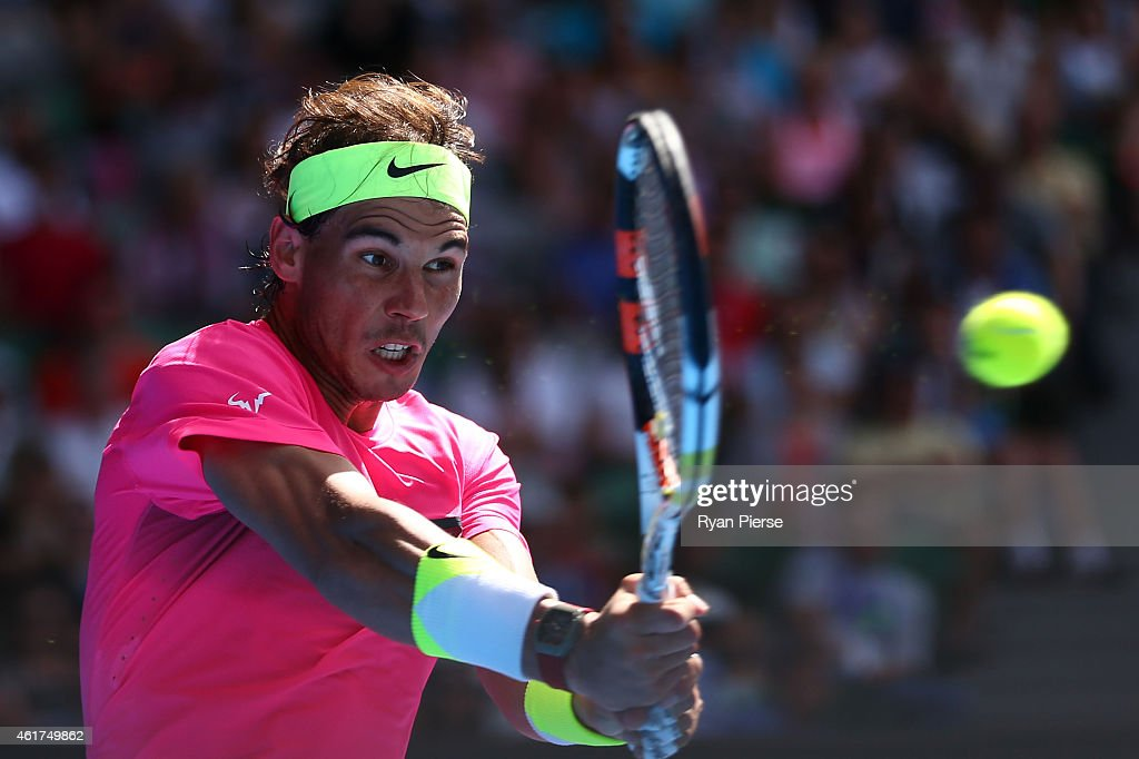 Rafael Nadal of Spain plays a forehand in his first round match against Mikhail Youzhny of Russia during day one of the 2015 Australian Open at Melbourne Park on January 19, 2015 in Melbourne, Australia.