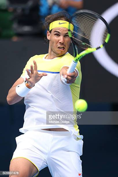 Rafael Nadal of Spain plays a forehand in his first round match against Fernando Verdasco of Spain during day two of the 2016 Australian Open at...