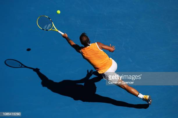 Rafael Nadal of Spain plays a forehand in his fourth round match against Tomas Berdych of the Czech Republic during day seven of the 2019 Australian...