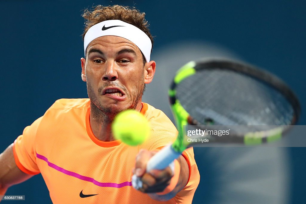 Rafael Nadal of Spain plays a forehand in his match against Alexandr Dolgopolov of Ukraine on day three of the 2017 Brisbane International at Pat Rafter Arena on January 3, 2017 in Brisbane, Australia.