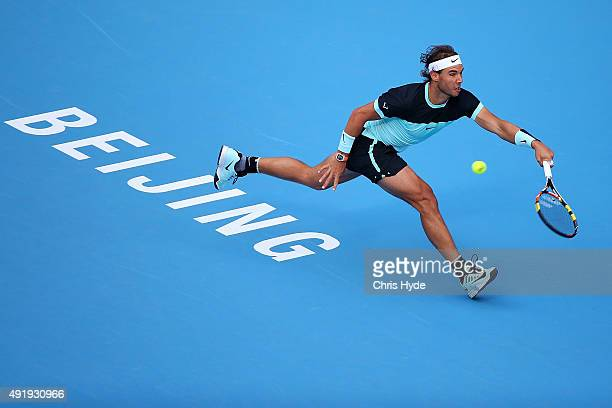 Rafael Nadal of Spain plays a forehand in his match against Jack Sock of the USA on day 7 of the 2015 China Open at the National Tennis Centre on...