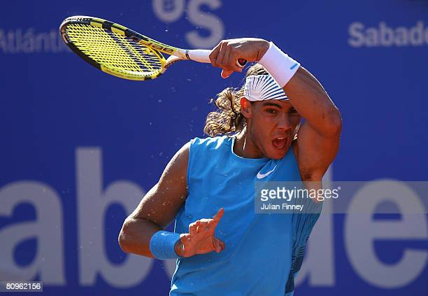 Rafael Nadal of Spain plays a forehand in his match against Juan Ignacio Chela of Argentina during the Open Sabadell Atlantico Barcelona 2008 Tennis...