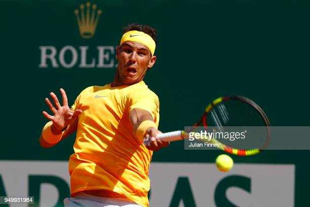 Rafael Nadal of Spain plays a forehand in his match against Kei Nishikori of Japan during day eight of ATP Masters Series Monte Carlo Rolex Masters...