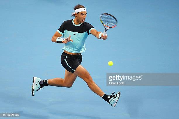 Rafael Nadal of Spain plays a forehand in his match against Vasek Pospisil of Canada on day 5 of the 2015 China Open at the National Tennis Centre on...