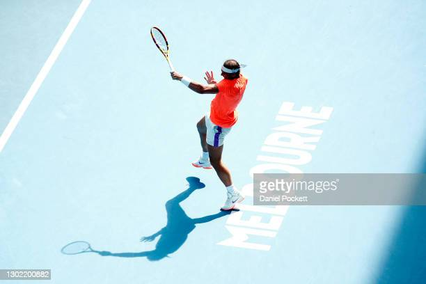 Rafael Nadal of Spain plays a forehand in his Men's Singles fourth round match against Fabio Fognini of Italy during day eight of the 2021 Australian...