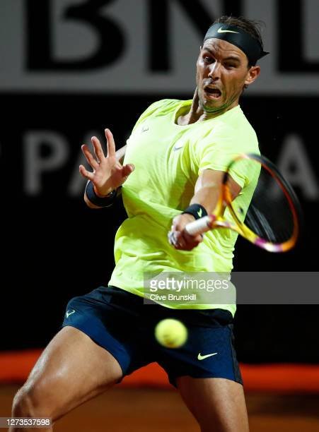 Rafael Nadal of Spain plays a forehand in his quarterfinal match against Diego Schwartzman of Argentina during day six of the Internazionali BNL...