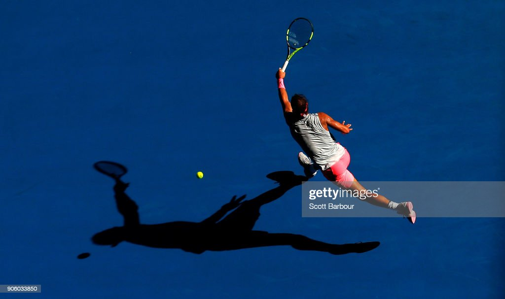 Rafael Nadal of Spain plays a forehand in his second round match against Leonardo Mayer of Argentina on day three of the 2018 Australian Open at Melbourne Park on January 17, 2018 in Melbourne, Australia.