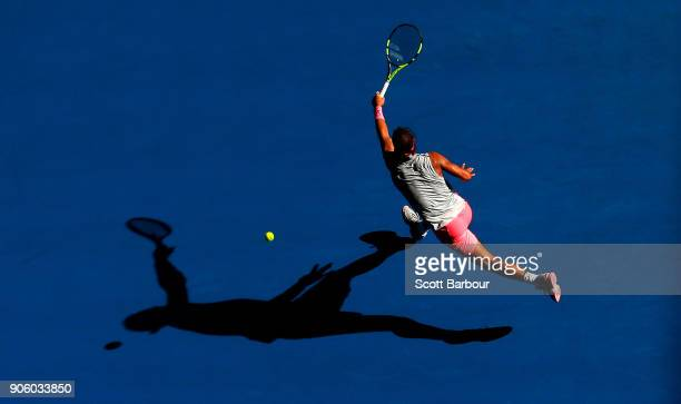 Rafael Nadal of Spain plays a forehand in his second round match against Leonardo Mayer of Argentina on day three of the 2018 Australian Open at...