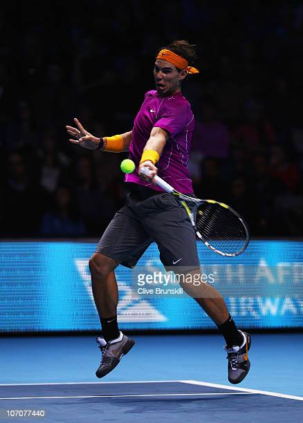Rafael Nadal of Spain plays a forehand in his singles match against Andy Roddick of the United States during the Barclays ATP World Tour Finals at...