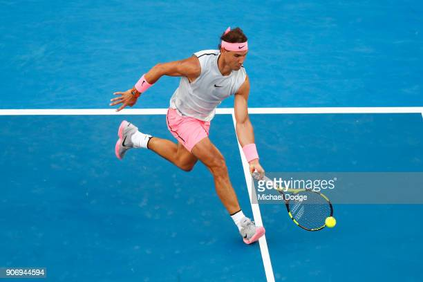 Rafael Nadal of Spain plays a forehand in his third round match against Damir Dzumhur of Bosnia and Herzogovina on day five of the 2018 Australian...