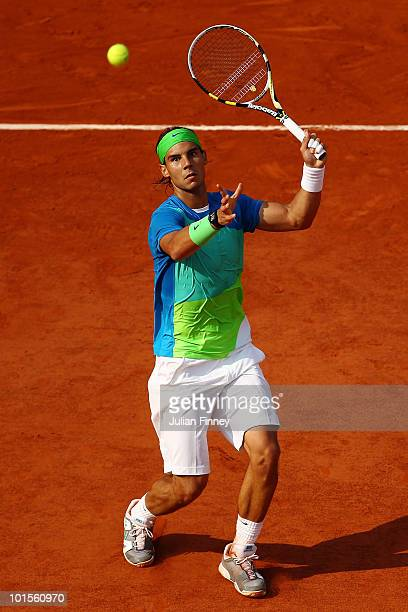 Rafael Nadal of Spain plays a forehand smash during the men's singles quarter final match between Rafael Nadal of Spain and Nicolas Almagro of Spain...