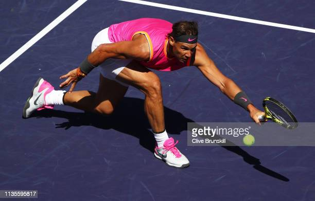 Rafael Nadal of Spain plays a forehand volley against Filip Krajinovic of Serbia during their men's singles fourth round match on day ten of the BNP...